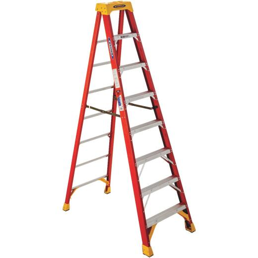 Werner 8 Ft. Fiberglass Step Ladder with 300 Lb. Load Capacity Type IA Ladder Rating